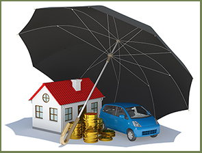Image of umbrella over house, care and stack of coins