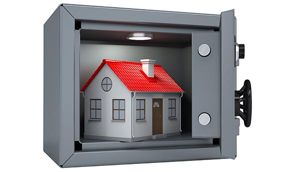 Image of a home inside of a safe