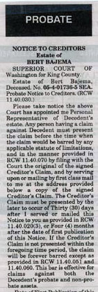 NOTIFICATION TO CREDITORS